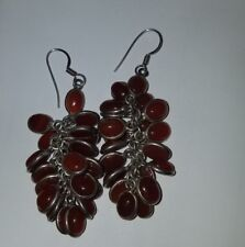 VINTAGE STERLING SILVER AND CARNELIAN STONE CLUSTER DANGLE EARRINGS