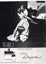 PUBLICITE ADVERTISING 114  1966  DANA  parfum femme TABU  eau de Cologne