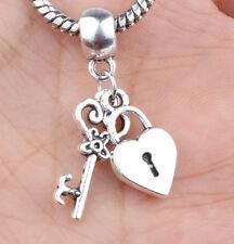 2P European Silver CZ Charm Beads Fit sterling 925 Necklace Bracelet Chain #D631