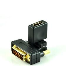 Gold Plated 24+1 Pins DVI-D Male to HDMI Female Converter Adapter 180° Rotation