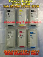 any 3 compatible with HP 72 ink HP Designjet  T620 T1200 t790 t1300 t795