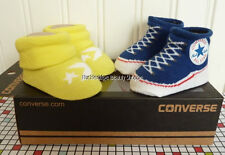 2 PAIRS BOY CONVERSE HIGH TOPS CHUCK TAYLOR ALL STARS BABY BOOTIES BLUE YELLOW