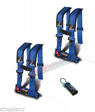 """Dragonfire 4 Point 3"""" Padded Seat Belt Harness Pair Bypass H Style Blue Turbo"""