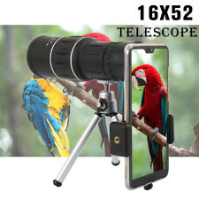 16x52 Zoom HD Dual Focus Monocular Telescope Optical Lens Tripod Holder Phone