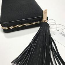 Neiman Marcus Matte Pebbled Faux Leather Zip Around Wallet With Tassel.Black