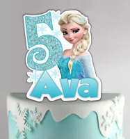 Elsa Frozen Personalized PRE-CUT Cake Topper Decoration with Name and Age #737