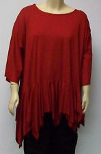 ALLOCCA,DUSSELDORF,THEIR ONE SIZE FITS MOST,RED VISCOSE UNEVEN HEMLINE TUNIC.