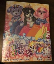 Lisa Frank Puzzle Keeper Binder Stickers 3 Puzzles Puppies Kittens Unicorn 63 Pc