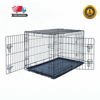 "30"" Dog Crate Kennel Folding Pet Cage Metal 2Door With Tray Black"