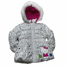 Hello Kitty Toddler Girl 2T Fleece Lined Jacket Hood Pockets *Minor Stains