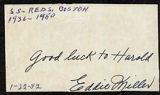 Eddie Miller {1916-1997} Vintage Signed Cut Card Cincinnati Reds All-Star COA