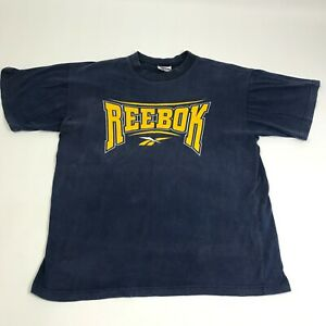 Vintage Reebok Mens Blue Shirt Size XL Made in Australia 100% Cotton Faded