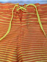 BURNSIDE Mens 38 Stipes Board Shorts Yellow Orange Pocket Bottle Opener Comb NWT