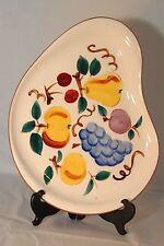 STANGL pottery serving  PLATTER FRUIT pattern white yellow blue kidney shape