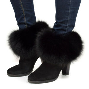 Black Fox Fur Boots Covers NEW Fur Shoes Sleeves Leg Warmers Cuffs For Boots FOX