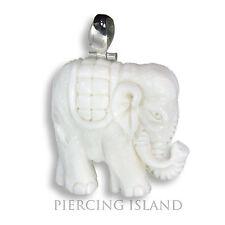 Weisser Elefant ECHT Silber Bone Amulett Design Anhänger Handarbeit PB302