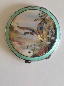 Silver and enamel compact ducks H C Davis Birmingham 1937