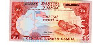 SAMOA Billet 5 TALA ND 1985 P26 FUNNY NUMBER 050005  UNC NEUF