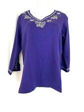 """ Quacker Factory Sparkle Embellished 3/4 Sleeve T-shirt"