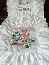 NEW - Dolls,Teddy- Owl Motif - Satin,Embroidered Bedding Set - cot/pram/bed.