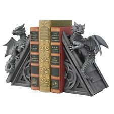 Pair of Winged Dragons Medieval bookends Gothic Dragon Statues Sculptures NEW