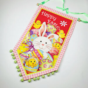 Happy Easter Bunny Rabbit Eggs and Chicks Pom Pom Canvas Banner Wall Hanging