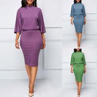Office Dress Lady 3/4 Sleeve Short Pencil Dresses Women Elegant Bodycon Dresses@