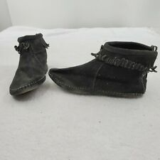 Minnetonka Moccasins 7 Vintage Black Shoes Fringe Leather Suede Booties Boots