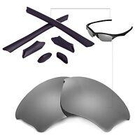 New Walleva Titanium Lenses And Black Rubber Kit For Oakley Half Jacket XLJ