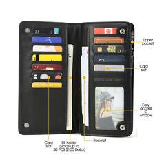 Mens Long Wallet Purse Leather Clutch Bifold Card Holder Money Zipper Business