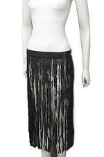 Femme Noir Ceinture Mode Hip Extra Long Simili Cuir Danse Jupe Franges S M f979abb7332