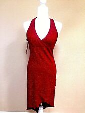 City Triangle Red Sparkle Shimmer Halter Prom Dress Junior's Size 5