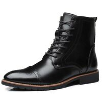 Mens Formal Leather Oxford Shoes Casual Flats British Style Dress Martin Boots