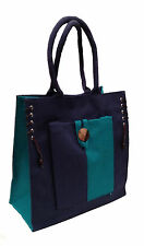 Eco-friendly Jute shopper bag - Navy & Peacock