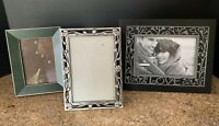 Lot 3 Pewter Floral Filigree Forest Green Black Photo Frames Collage Collection