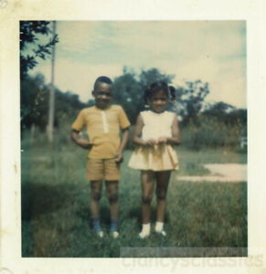 1970  Brother & Sister Matching Yellow African AMerican Black Polaroid