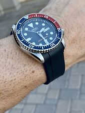 22mm Vulcanized rubber Strap All Seiko SKX007 Watches Dual Color Black & Blue