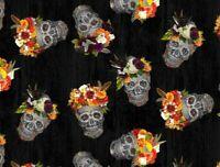 FAT QUARTER FABRIC  SKULLS DIA DE LOS MUERTOS SKELETON DAY OF THE DEAD COTTON FQ