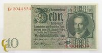1929 Germany 10 Mark (AU) About Uncirculated Condition