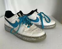 Nike Air Force 1 Trainers White Blue Basket Ball Size UK 6  Style 488298-119