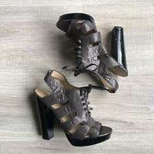 COACH Moreen Pewter Python Metallic Leather Gladiator Shoes Gladiators Sz 6.5 B