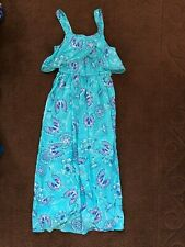 NWT MUDD Butterfly Girls Maxi Dress Size L (14) Turquoise Purple White Pink
