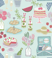 PICNIC ON LIGHT BLUE BY LEWIS & IRENE - COTTON FABRIC FQ'S