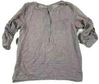 Just Living Womens Sz M Tunic Shirt Top 100% Linen Brown Long Sleeve Adjustable