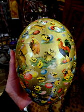 Large antique paper mache Easter Deco Egg candy container Germany