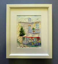 "Framed Original Watercolour ""The Backpackers' Cafe"", Essex Street, Fremantle, WA"