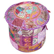 """Indian Footstool Pouf Cover Patchwork Embroidered Large Round Ottoman Cotton 18"""""""
