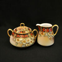 Nippon Maple Leaf Creamer & Sugar w/Lid Hand Painted White Floral Gold 1891-1918