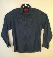 Wrangler Mens Denim Shirt Size M Blue Long Sleeve Button Medium