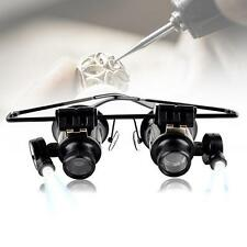 1x Binocular Glasses Type 20X Watch Jewellery Repair Magnifier with LED Light MT